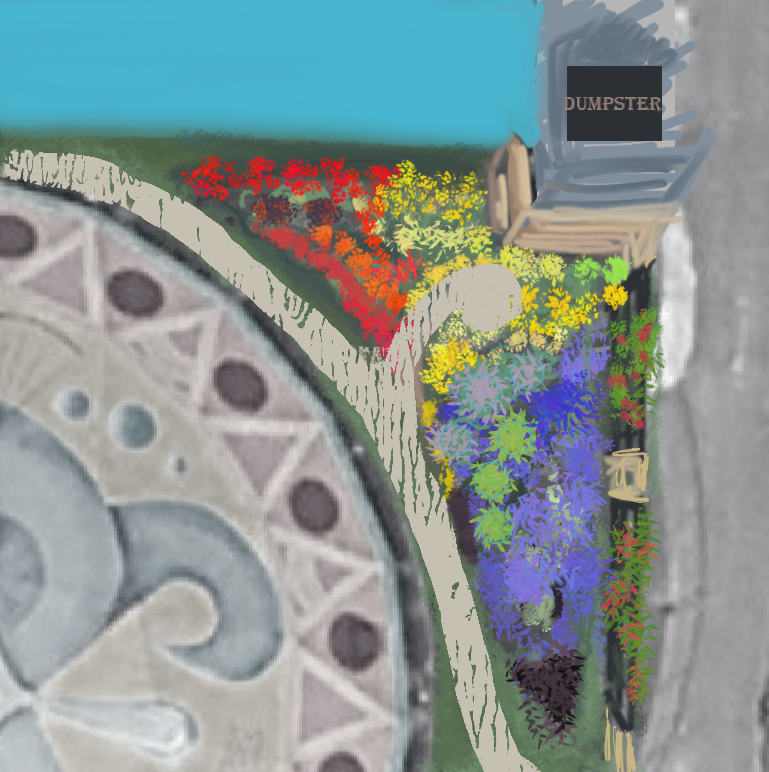 Overhead view of garden color path inside